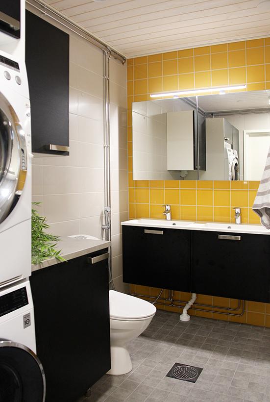 Tehokkaalla tilasuunnittelulla saatiin kylpyhuoneeseen uutta toimivuutta