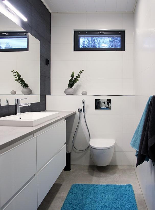 Tumma seinä antaa ryhtiä vaalealle wc:lle